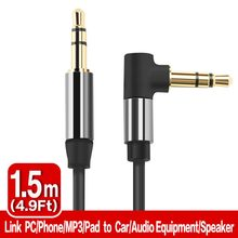 Snowkids Angled AUX Cable Jack 3.5mm Audio Cable 3.5 mm Jack Speaker Cable for Headphones Car AUX Cord 1.5m(China)