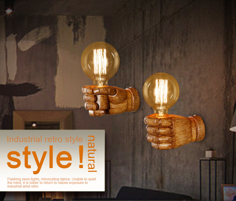 ФОТО Retro industry Wall Restaurant Bar Cafe fist resin wall lamp bedroom bedside wall sconces lighting vintage black white arandela