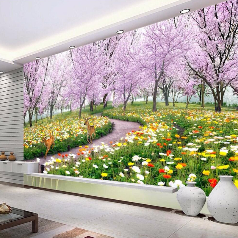 Custom 3D Photo Wallpaper Romantic Natural Landscape Flower Deer Living Room Sofa Bedroom TV Background Floral Wallpaper Mural 3d wallpaper custom photo hd mural flowers deer forest tv sofa bedroom ktv hotel living room children room