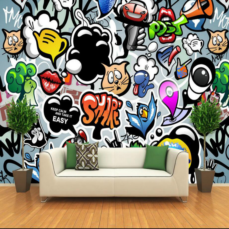 Custom Made Home Improvement Decor 3D Wallpaper for Walls Hand Painted Graffiti Art TV Wall Wall Papers Mural for Living Room