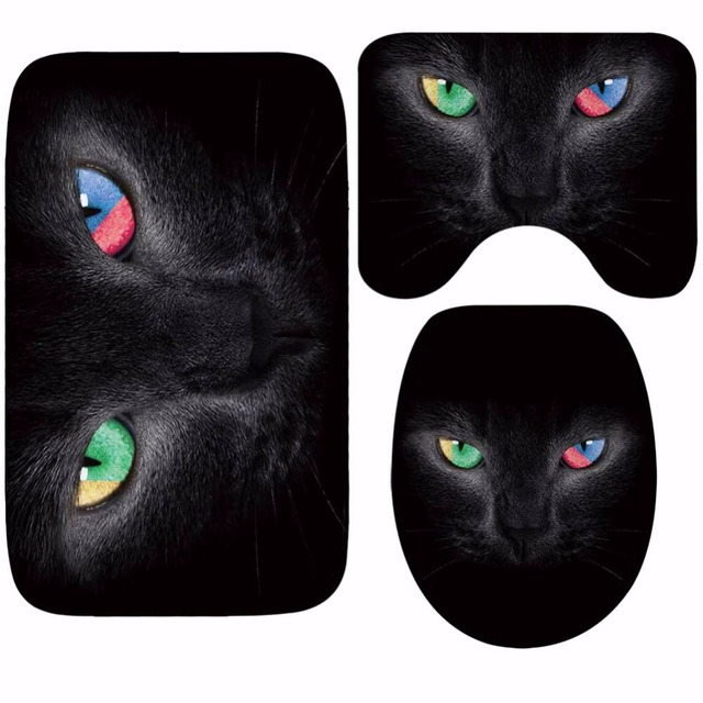 CAMMITEVER 3PCS/Set Cute Cats Shower Bath Mat Toilet Lid Cover Non Slip Mat Carpet Water Absorbent