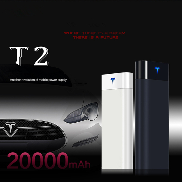 Mobile Bank Tesla T2 20000mah Portable Charger External Battery Phone Backup S Travel High Capacity