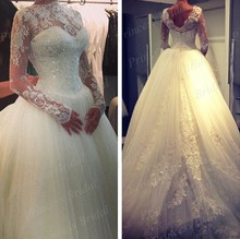 Free Shipping New Images Top Sale Puffy Tulle Court Train Long Sleeve Ball Gown Wedding Dresses