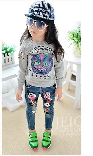 Niños de Los Niños muchachas de los pantalones vaqueros pantalones lápiz pies pantalones versión Coreana del patrón de la historieta Otoño nueva