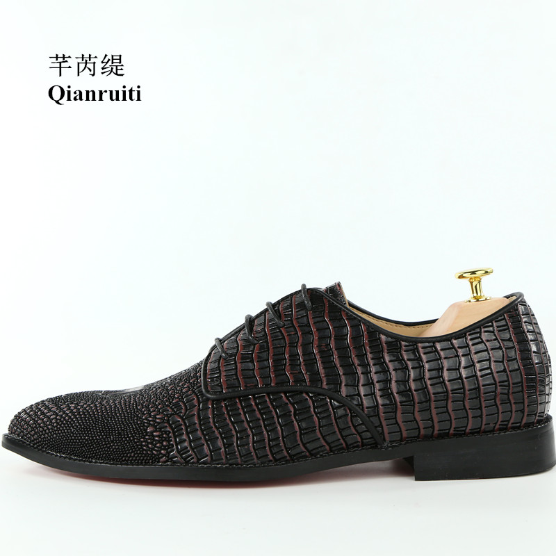 Qianruiti Classic Style Spring Footwear Men Alligator Shoes Hot Sale Lace-up Oxfords Business Wedding Flats Men Dress ShoesQianruiti Classic Style Spring Footwear Men Alligator Shoes Hot Sale Lace-up Oxfords Business Wedding Flats Men Dress Shoes