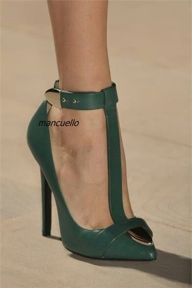 Trendy T Strap Design Ankle Buckle Heels Sexy Green PU Leather Pointy Stiletto Heel Pumps Pretty