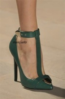Trendy T strap Design Ankle Buckle Heels Sexy Green PU Leather Pointy Stiletto Heel Pumps Pretty Girls Date Dress Shoes