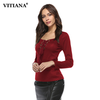 VITIANA Women Long Sleeve Shirts Female Elegant Autumn Winter Black Sexy V Neck Lace Up Casual