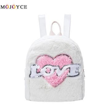 Winter Plush Women Backpack Preppy Style Love Heart Pattern Girls Mini School Backpack Mochila Feminina