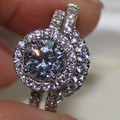 Lady's Diamonique Silver Simulated Diamond CZ Pave Set  Wedding Two-layer Ring Set for Women