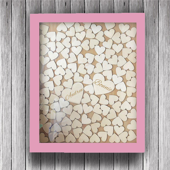 Personalized Wedding Guest Book Frame Rustic Wooden Hearts Guest