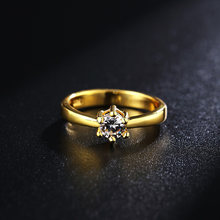 2PCS rings set Gold color silver color for Women wedding stone Ring AAA Zircon silver Engagement Rings Fashion Jewelry LR096(China)