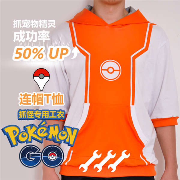 2017 New Clothing Made Anime Pokemon GO Game T-shirt Cosplay Half Sleeve Hooded T-shirt