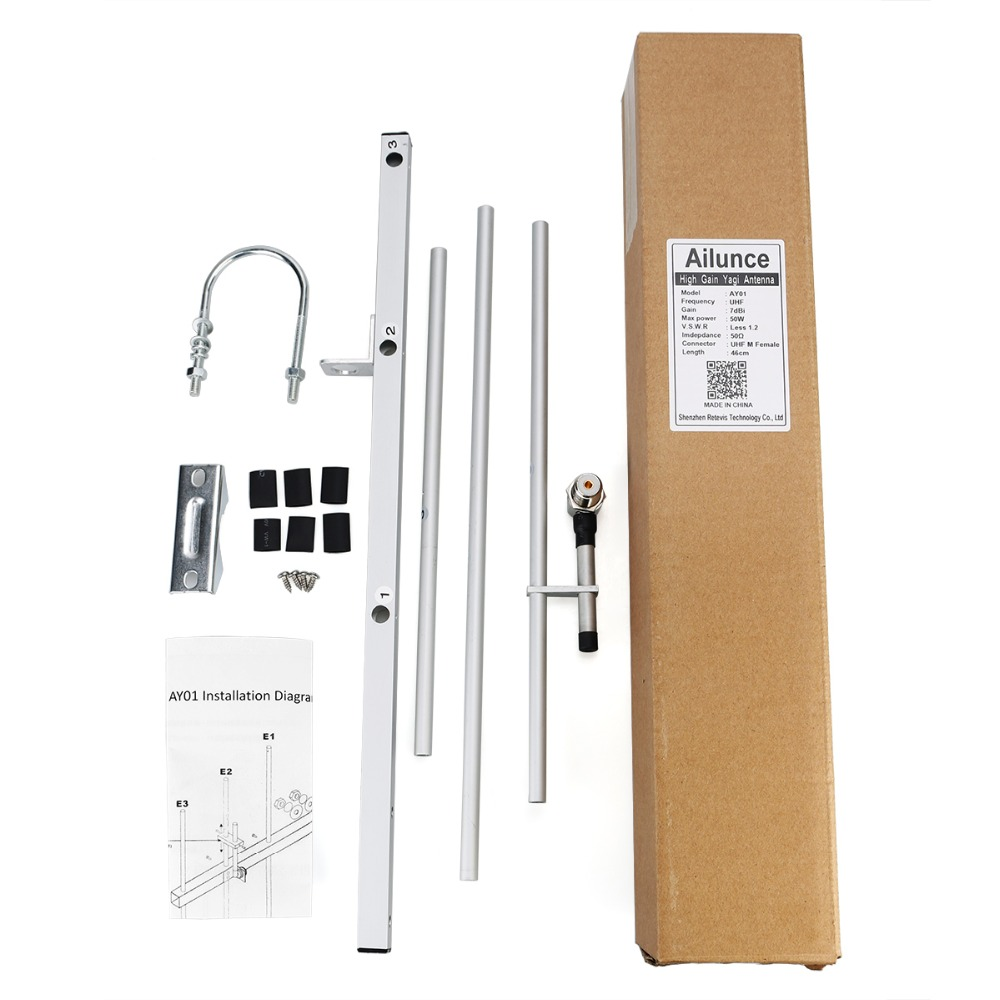 Image 5 - Retevis Ailunce AY01 High Gain UHF Yagi Antenna 7 dBi with UHF Female Connector Aluminum Alloy for Two Way Radio Walkie Talkie-in Walkie Talkie from Cellphones & Telecommunications