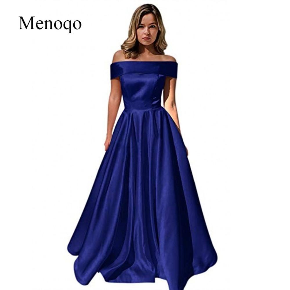 Menoqo Long Evening Dress With Pockets Vintage Satin Prom Gowns Vestido De Festa Off The Shoulder Cheap Evening Gown