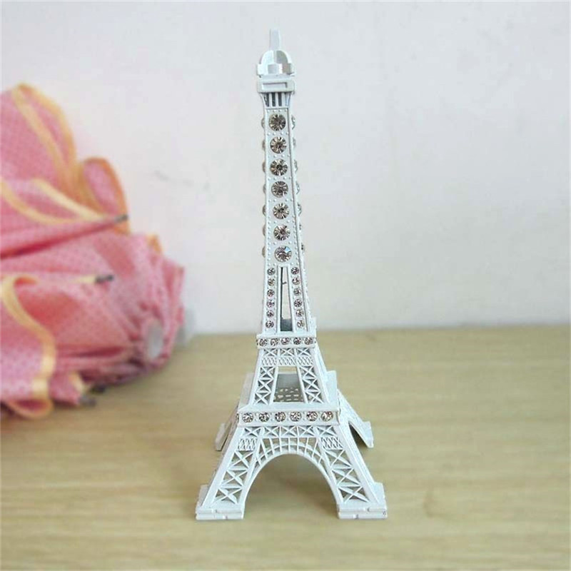 2016 New 18cm Fashion Shinning White Tone Paris Eiffel Tower Figurine Statue Vintage Alloy Model Eiffel Tower Home Decor Vintage