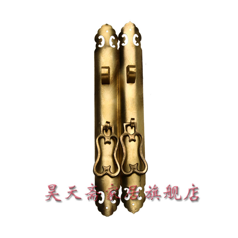 [Haotian vegetarian] copper straight handle / Ming and Qing antique furniture, brass fittings / HTC-075 wholesale price loft vintage industrial edison wall lamps clear glass lampshade antique copper wall lights 110v 220v for bedroom page 3