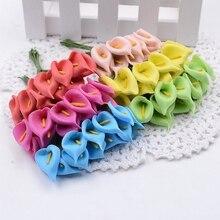 12pcs Mini Foam Calla Handmake Artificial Flower Bouquet Wedding Decoration DIY Wreath Gift Box Scrapbooking Craft Fake Flower