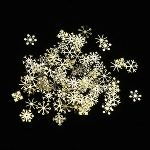 Image 5 - 1 Box/Set 3D Snowflakes Gold Metal Slices Nail Art Sequins Christmas Decorations Nail Polish Thin Sticker Designs Manicure TR889