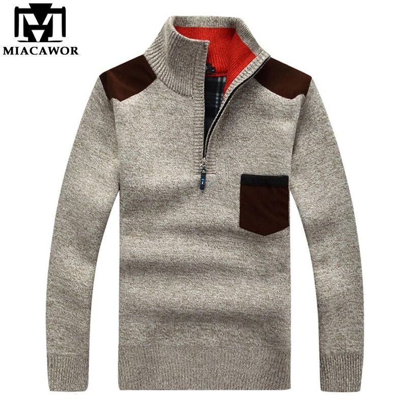 MIACAWOR New Warm Wool Sweaters Men Autumn Winter Casual Men Pullover Fleece Sueter Hombre Zipper Sweater Y075