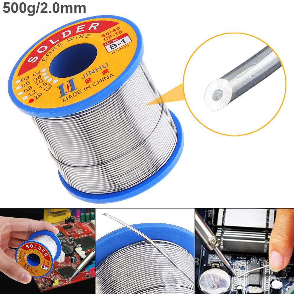Jinhu 0,5/0,6/0,8/1,0/1,2/1,5/2,0mm 500g soldadura alambres de soldadura hierro colofonia Core 60/40 plomo estaño Flux 2,0 herramientas de soldadura