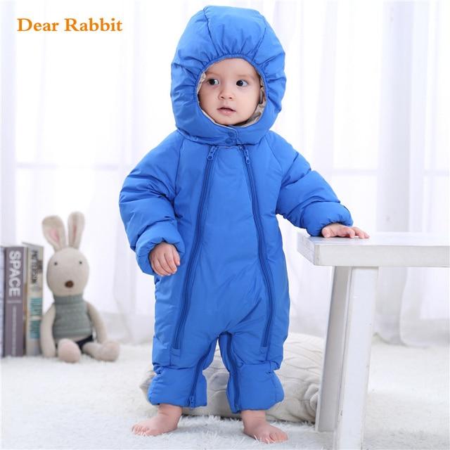 dc9ea1ae16ec Down Cotton Baby Rompers Winter Thick Boys Costume Girls Warm Infant  Snowsuit Kid Jumpsuit Children Outerwear Wear 0-24m clothes