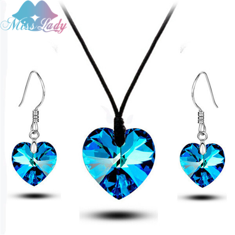 Miss Lady Shiny Good Crystal Heart Fashion Wedding Jewelry Sets for Birdals for Women Necklace Earrings Sets MLMS843