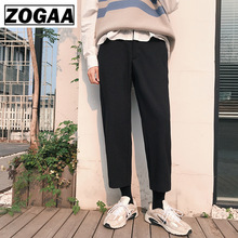 ZOGGA Spring Solid Casual Male Ankle-Length Straight Pants High-quality 100%cotton Mid-Waist Men Without Shrink/Pilling