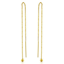цена на Simple Fashion Earrings 100% 18K Gold AU750 Jewelry Long Ear Line Drop Earrings for Women Lady Gifts 10-11CM Long 0.60g/pair