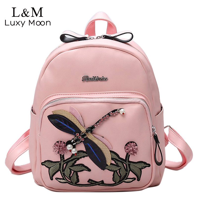 Women Backpack Floral Embroidery Hot Fashion Preppy style Backpacks PU Leather Travel Bag For Teenage Girls