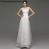 Forevergracedress Vintage Cheap Wedding Dress A Line Illusion Back Applique Tulle Long Bridal Gown Plus Size