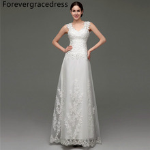 Forevergracedress Vintage Cheap Wedding Dress A Line Illusion Back Applique Tulle Long Bridal Gown Plus Size Custom Made