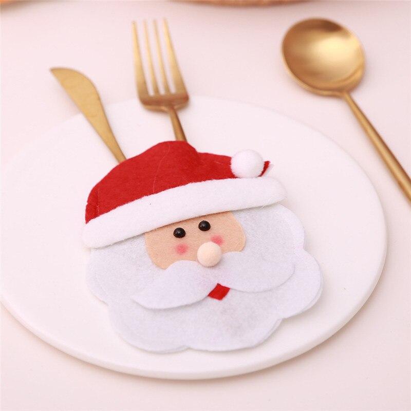 Шляпа Санты, олень, Рождество, Год, карманная вилка, нож, столовые приборы, держатель, сумка для дома, вечерние украшения стола, ужина, столовые приборы 62253 - Цвет: N