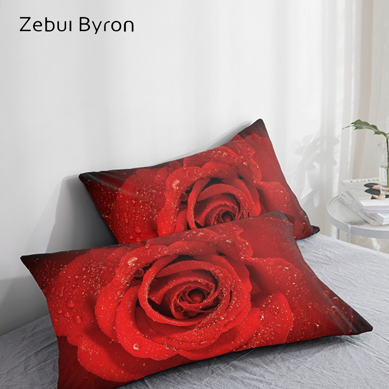 3D HD Pillow Case Pillowcase Custom/50x70/50x75/50x80/70x70 Decorative Pillow Cover,Bedding For Wedding Red Rose,Drop Ship
