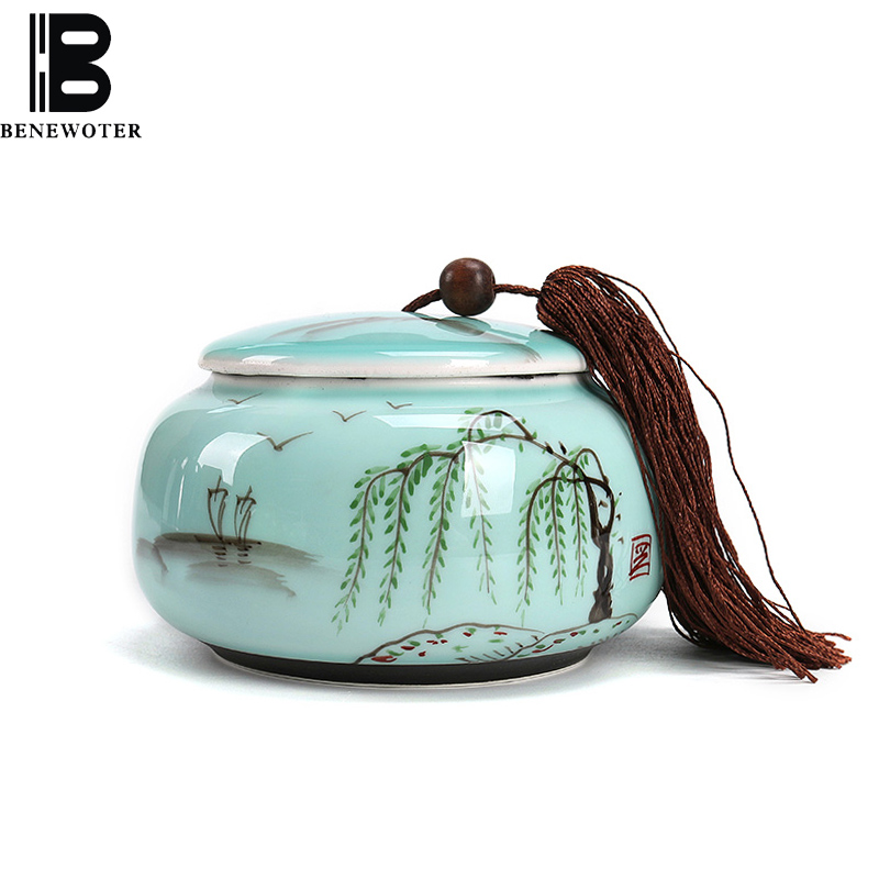 Creative Hand Painted Celadon Pastoral Style Tea Caddy Ceramic Kung Fu Tea Set Tea Can Spice Seasoning Storage Bottle Sealed Jar