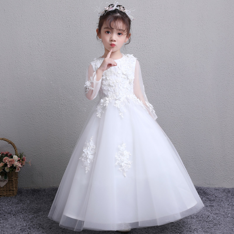 Children Girls Luxury White Color Birthday Wedding Party Princess Lace Flowers Dress Teens Kids Long Sleeves Evening Prom Dress 2017 new high quality girls children white color princess dress kids baby birthday wedding party lace dress with bow knot design