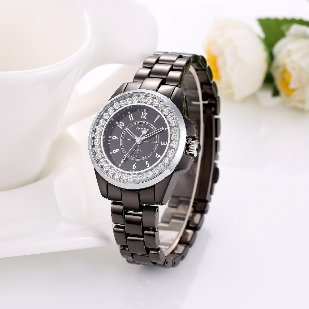 SINOBI Top Brand Wrist Watch Women Watches Luxury Rhinestone Women's Watches Full Steel Clock saat relogio feminino montre femme luxury full diamond watch women watches rhinestone bling women s watches ladies watch clock saat relogio feminino montre femme