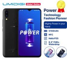 "UMIDIGI כוח 5150mAh 18W תשלום מהיר אנדרואיד 9.0 4GB 64GB 6.3 ""FHD + גלובלי גרסה smartphone הכפול Helio P35 2.3GH הכפול 4G 16MP"
