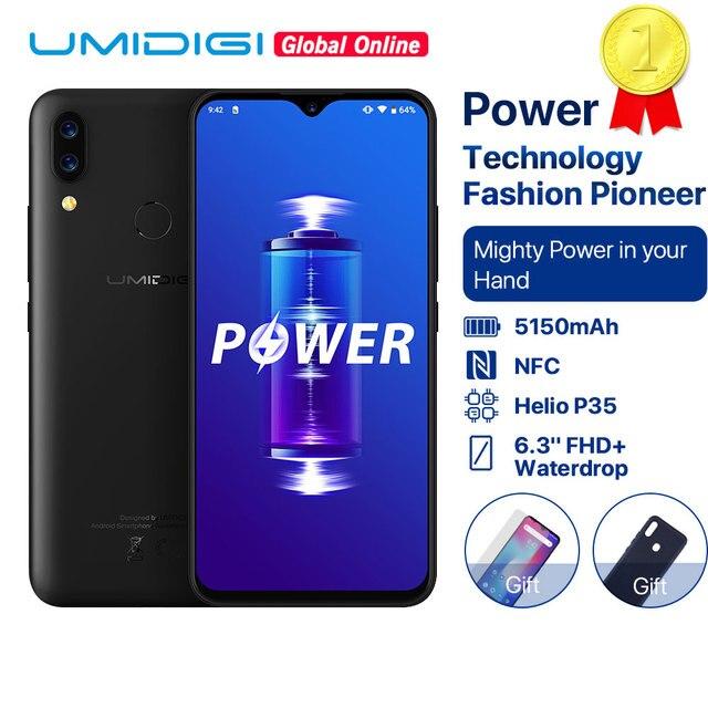 """UMIDIGI Power 5150mAh 18W شحن سريع أندرويد 9.0 4GB 64GB 6.3 """"FHD + النسخة العالمية الهاتف الذكي المزدوج هيليو P35 2.3GH المزدوج 4G 16MP"""
