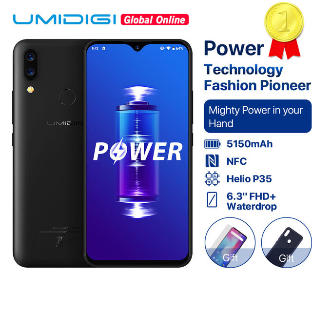 "UMIDIGI Power 5150mAh 18W Fast Charge Android 9.0 4GB 64GB 6.3"" FHD+ Global Version Smartphone Dual Helio P35 2.3GH Dual 4G 16MP"