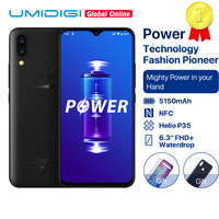 UMIDIGI Power 5150mAh 18W Fast Charge Android 9.0 4GB 64GB 6.3 FHD+ Global Version Smartphone Dual Helio P35 2.3GH Dual 4G 16MP