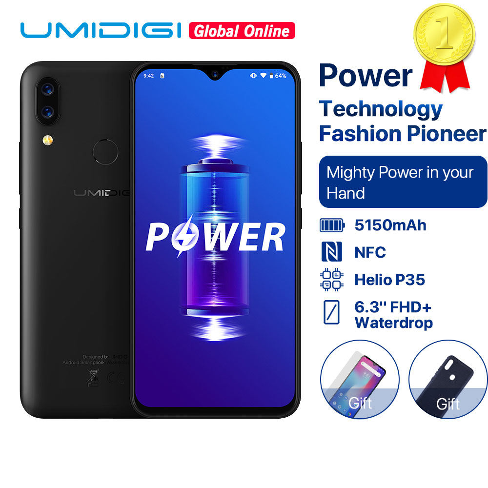 "UMIDIGI Power 5150mAh 18W Schnelle Ladung Android 9.0 4GB 64GB 6,3 ""FHD + Globale Version Smartphone dual Helio P35 2.3GH Dual 4G 16MP"