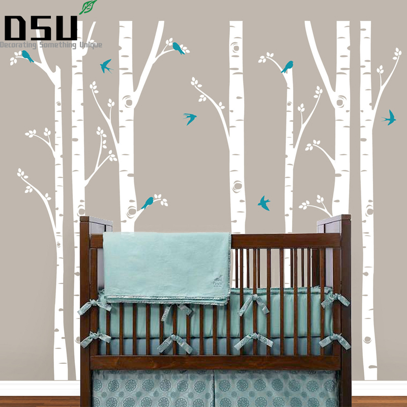 все цены на 252*243cm Birch Trees Wall Decal Tree Wall Sticker Removable White Bbirch Wall Stickers Trees Baby Vinyl Wall Decor Wallpaper