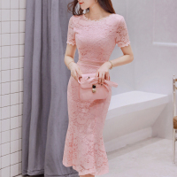 2019 Women Summer Lace Dress O neck Elegant Evening Party Mid Calf Mermaid Pink Dress Short Sleeve Black Vestidos