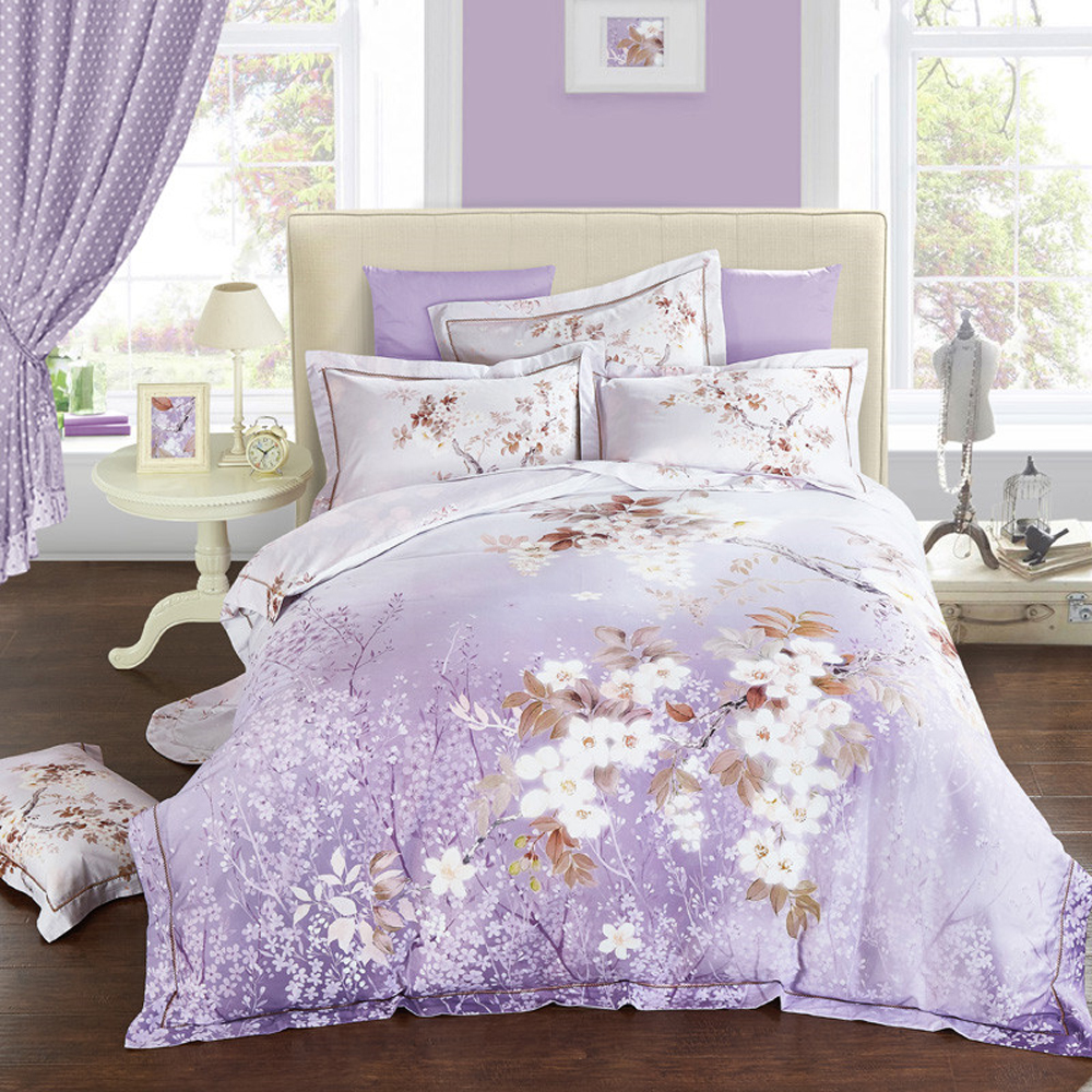 2018 Fresh Flowers Purple Duvet Cover Set Winter Thick