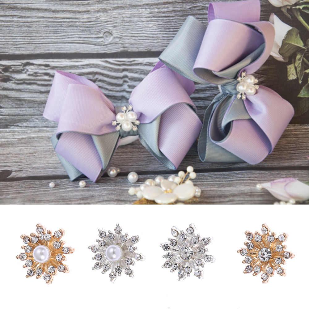 10pcs/setDIY Flower Rhinestones Buttons Pearl button Alloy Diamante Cryustal Bow wedding decoration Sewing Decor Accessories
