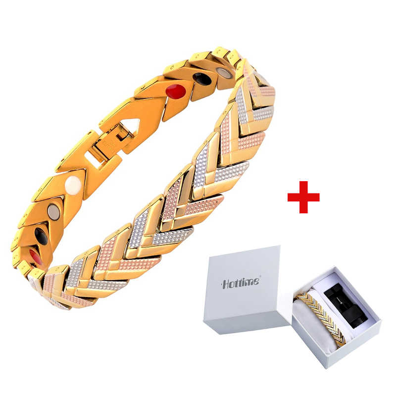 Unisex Bracelet Magnetic Therapy Stainless Steel Energy Bracelets Bangles Gold WomenPain Relief for Arthritis and Carpal Tunnel