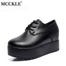 Mcckle/Модная обувь на толстой подошве auntumn Женская обувь на платформе Кружево до слипоны Туфли без каблуков для дам повседневная женская обувь черные ботинки в стиле «панк»
