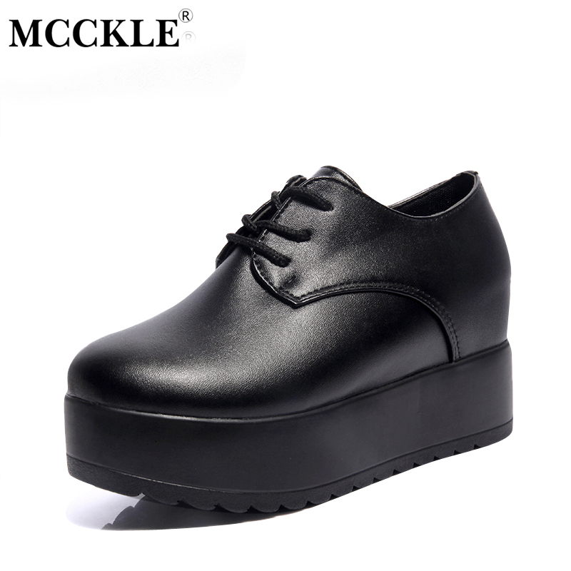 MCCKLE Fashion Creepers Autumn Platform Shoes Women Lace Up Slip On Flats For Ladies Casual Female Black Punk Style Shoes coolcept female bowtie restore ancient ways slip on platform mid heels women s fashion style casual spring autumn lolita shoes