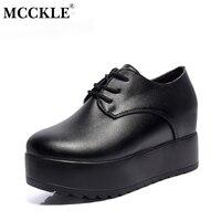 MCCKLE Mode Klimplanten Herfst Plateauzolen Vrouwen Lace Up Slip Flats Voor Dames Casual Vrouwelijke Zwarte Punk Stijl Schoenen